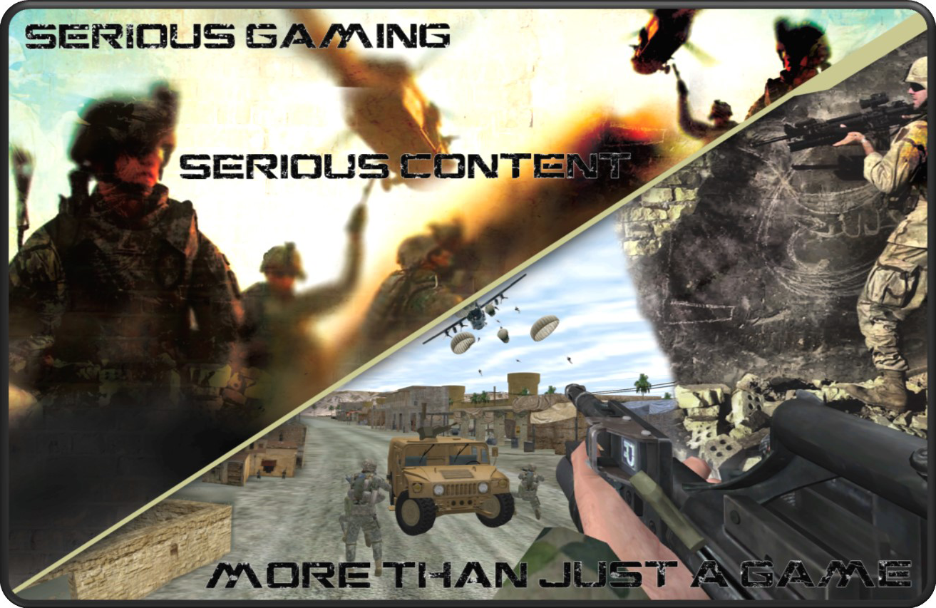 """Serious Gaming Serious Content """"More than just a game"""" logo photo AVT Simualtion"""