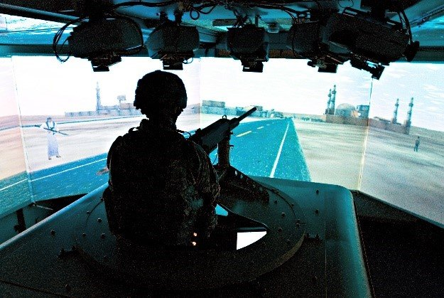 AVT side of a Humvee roof mounted machine gun turret simulator