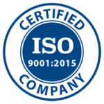 ISO Certified Company logo 9001:2015 blue and white circle